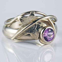 Ivy Leaf Ring with Purple Sapphire 18ct White Gold