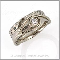 Woodgrain Tree Ring - Leaf Wedding Ring Set