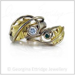 Oak Leaves Bridal Ring Set