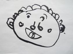 おばあちゃんの似顔絵タオル原画