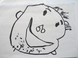 おじいちゃんの似顔絵タオルの原画