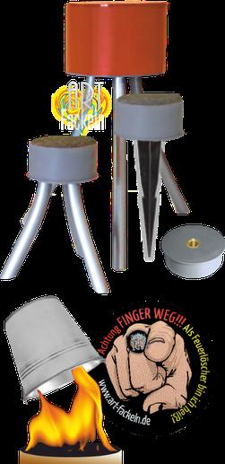 Abbildung verschiedener Füße und Löschkappe als Zubehör