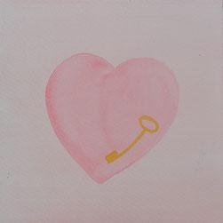 la clé, je l'ai perdue dans mon coeur 17x17cm 2014