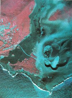 噴火後の新澪池付近(赤外カラー,アジア航測㈱撮影・提供)