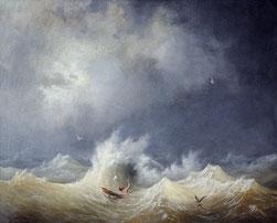 Louis-Amboise Garneray, Le naufragé, huile sur toile, collection musée des beaux-arts de Brest métropole