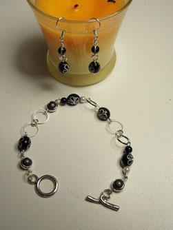 bracelet et B.O noir/argent