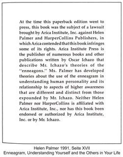 Helen Palmer - Hinweis auf den Plagiatsprozess von Oscar Ichazo