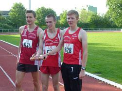 Platz 2 in der BL: 3x1000 m: Simon Huckestein, Florian Herr, Marco Giese