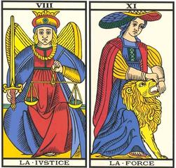 XIII La Justice et XI La Force - Tarot de Marseille