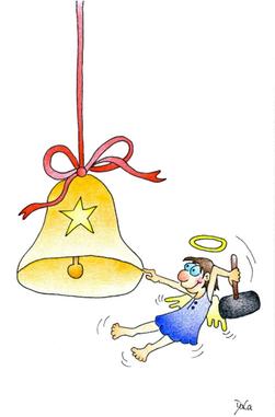 Weihnachtskarte Engel schlägt mit Hammer auf Weihnachtsglöggli