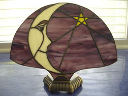 moon star night sky stained glass fan lamp aCCENT NIGHT LIGHT