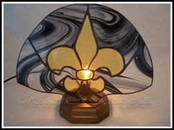 Black and Gold Fleur de Lis Accent Lamp