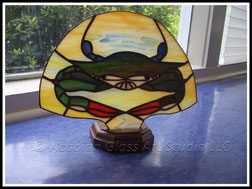 AGA Blue Crab Stained Glass Accent Lamp