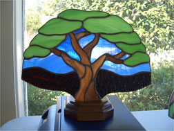 Tree Stained Glass Accent Lamp
