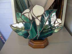 Arum Lily Stained Glass Accent Lamp