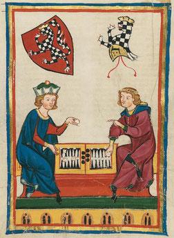 Beispiel für alte Brettspiele aus dem Mittelalter: Zwei Personen spielen Wurfzabel. © Univeristät Heidelberg. Public Domain.