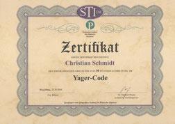 Zertifikat zur erfolgreichen Yager-Code Ausbildung