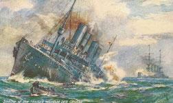 Sinking of Kaiser Wilhelm der Grosse (as converted to a commerce raider: http://sextoenredado.blogspot.ch/2013/04/los-grandes-transatlanticos.html).
