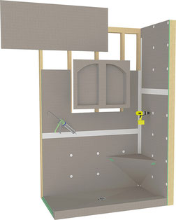 Hydro Blok shower system with individual components