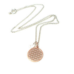 Initial Flower of Life |925 Silberkette Blume rosé