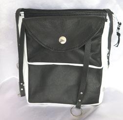 aufklappbare Handytasche in schwarzem und weissem Leder