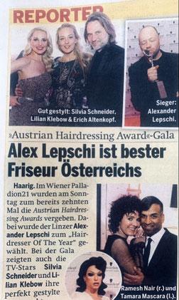 Bericht von Graz Nachrichten (April 2019) - Alexander Lepschi ist Hairdresser of the Year 2019