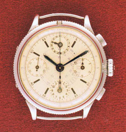 Un chronographe compteur 30 minutes et 12 heures avec calendrier sur midi terminé au Pont, dans l'atelier Reynold Dubois (Collection Gérald Dubois)