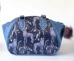 Rucksack Enna, maritim, Streifen, Sterne, blau-weißes Mischgewebe, Baumwolle, Kunstleder, Handmade