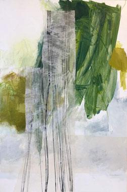 Karine Chantelat, Baiser parfum, acrylique, collage, crayons, gouache, 97 x 146.