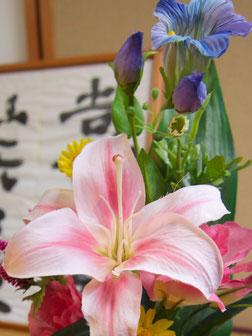 アートフラワー,仏花,スティックタイプ,お彼岸,お盆,お悔やみ,お供,シルクフラワー,造花,カサブランカ