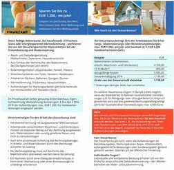 Steuerbonus für Handwerker-Rechnungen, haushaltsnahe Dienstleistung, schöner Wohnen und Steuern sparen.