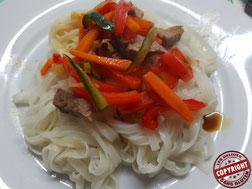 pâte chinoise au boeuf et légumes sans gluten sans lactose