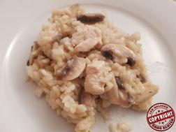 risotto poulet champignon sans gluten sans lactose sans oeuf