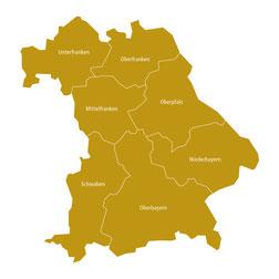 Karte von Bayern mit Unterfranken, Oberfranken, Mittelfranken, Oberpfalz, Niederbayern, Oberbayern und Schwaben.