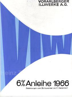 Vorarlberger Illwerke AG. Werbung für die Anleihe 1966. Entwurf von Heinz Traimer.