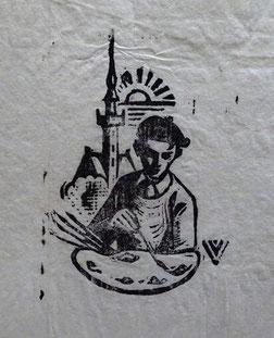 Karel van Veen, Veere. Houtgravure.