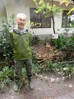 ●水車の作者の栗田さんです。栗田さんは、国分寺の市民団体「ミズモリ団」で活動されています