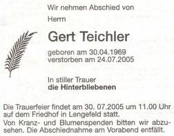 Bild: Teichler Todesanzeige Gert Teichler 2005