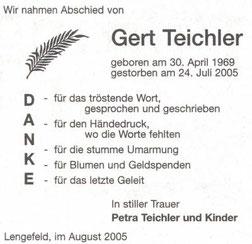 Bild: Teichler Danksagung Gert Teichler 2005