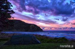 Neuseeland - Motorrad - Reise - Camping am Cape Reinga - Sonnenuntergang