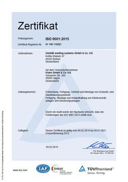 HAANE welding systems Zertifikat ISO 9001