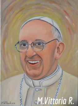Papa Francesco, olio su tela, cm 30x40 anno 2015