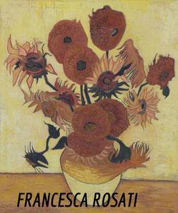 Vaso con quindici girasoli, copia d'autore Vincent Van Gogh,olio su tela 50x60cm, anno 2013