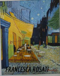 TERRAZZA DEL CAFE' LA SERA PLACE DU FORUM ARLES,  VINCENT VAN GOGH, OLIO SU TELA 40X50 CM, ANNO 2015