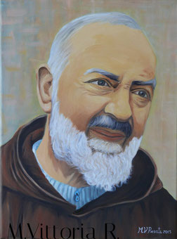 Padre Pio da Pietrelcina, olio su tela cm 30X40, anno 2015 COLLEZIONE PRIVATA