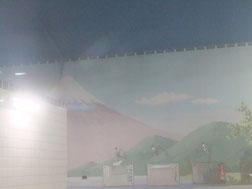 うまく写らないけど、タイル画は富士山!