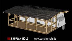 Bauplan Überdachung Carport Wohnwagen