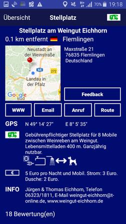 Stellplatz auf Promobil-App