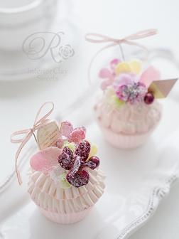 インテリアクレイスイーツ砂糖漬けフラワークレイカップケーキ
