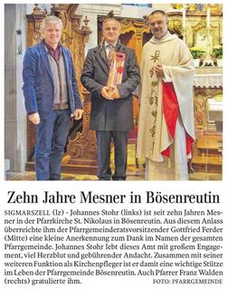 Zehn Jahre Mesner in Bösenreutin